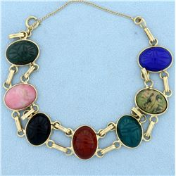 Vintage Scarab Bracelet in 14K Yellow Gold