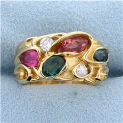 Emerald, Morganite, Diamond, and Rubellite Custom Designed Ring in  14K Yellow Gold