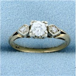 Vintage Three Stone Diamond Ring in 14K Yellow Gold