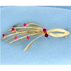 Natural Ruby Pin or Brooch in 18K Yellow Gold
