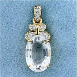 Vintage 10ct White Topaz and Diamond Pendant in 14K Yellow Gold