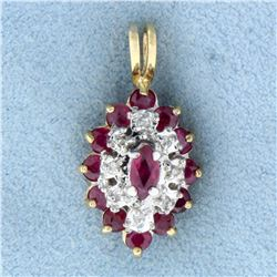 1ct TW Natural Ruby and Diamond Pendant in 14K Yellow Gold