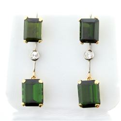 Chrome Tourmaline and Diamond Dangle Earrings in 14K Yellow Gold