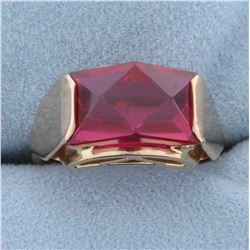Unique Vintage Lab Ruby Ring in 14K Rose Gold