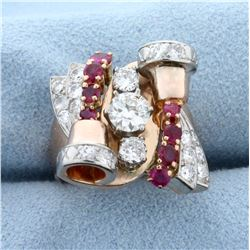 Custom Designed Art Noveau Diamond and Ruby Ring in 14K Rose Gold