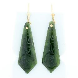 Jade Dangle Earrings with Chinese Character for Buddha in 14K Yellow Gold