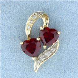 Lab Ruby and Diamond Heart Pendant in 10K Yellow Gold