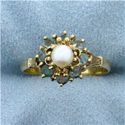Color Changing Natural Alexandrite and Akoya Pearl Ring in 18K Yellow Gold