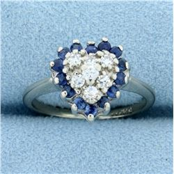 Sapphire and Diamond Heart Ring in 14K White Gold