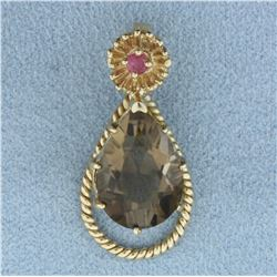 6ct Smoky Topaz and Ruby Pendant in 14K Yellow Gold