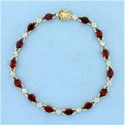 7ct Tw Garnet and Diamond Tennis Bracelet in 10K Yellow Gold