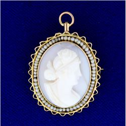 Antique Cameo Pendant or Pin with Seed Pearls in  14K Yellow Gold