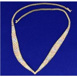 Italian-Made 16  Inch Necklace in 14K Yellow, White, and Rose Gold