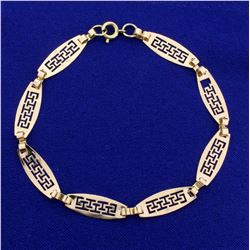 7 3/4 Inch Designer Link Bracelet in 14K Yellow Gold