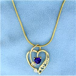 "Amethyst and Diamond Heart "" I Love You"" Pendant with Snake Chain in 10k Yellow Gold"