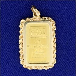 5 Gram Credit Suisse Gold Bar Pendant in 14K Yellow Gold