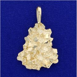 Heavy Gold Nugget Pendant in 14K Yellow Gold