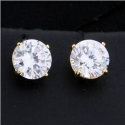 2ct TW CZ Stud Earrings in 14K Yellow Gold