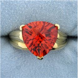 7.5ct Lab Padparadscha Sapphire Solitaire Ring in 10K Yellow Gold