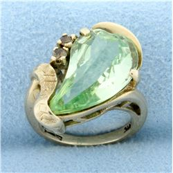 Vintage Green Topaz and Champagne Diamond Ring in 10K Yellow Gold