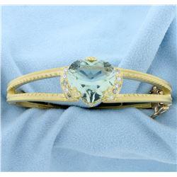Designer Green Spinel Heart and Diamond Bangle Bracelet in 18K Yellow Gold