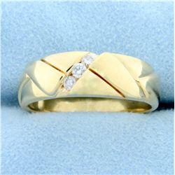 Men's Diamond Wedding or Anniversary Band Ring in 14K Yellow Gold