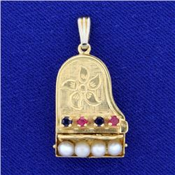 Vintage Grand Piano Design Ruby, Sapphire, and Seed Pearl Locket Pendant in 14K Yellow Gold