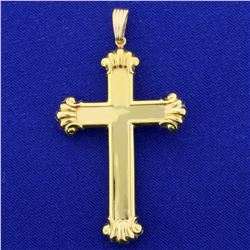 Large Gold Cross Pendant in 14K Yellow Gold