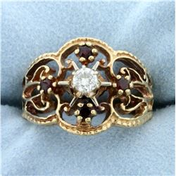 Vintage Diamond and Garnet Ring in 14K Yellow Gold