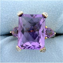 Over 11ct TW Amethyst and Diamond Ring in 14K Yellow Gold