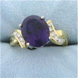 5ct Amethyst and Diamond Ring in 18K Yellow Gold