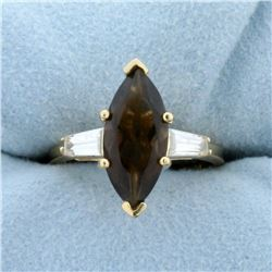 Smoky Topaz and CZ Ring in 14K Yellow Gold