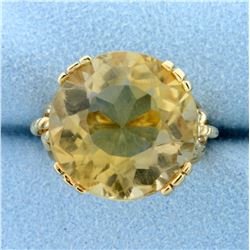 Vintage 20ct Citrine Statement Ring in 14K Yellow Gold