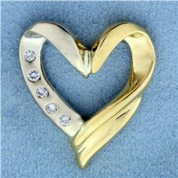 Diamond Heart Pendant or Slide in 18K Yellow and White Gold
