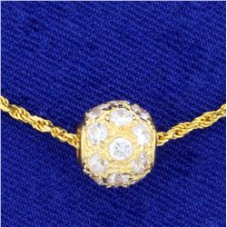 1ct TW White Sapphire Ball Pendant and Chain in 18K Yellow Gold