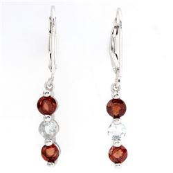 Garnet and Aquamarine Dangle Sterling Silver Earrings