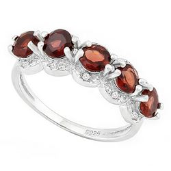 Garnet and Diamond Stacking Ring in Sterling Silver