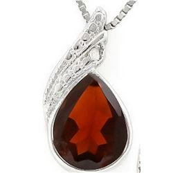 Pear Cut Garnet and Diamond Necklace in Sterling Silver