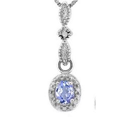 Tanzanite and Diamond Dangle Necklace in Sterling Silver