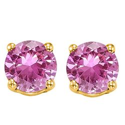 6MM Lab Pink Sapphire Stud Earrings in 10k Yellow Gold