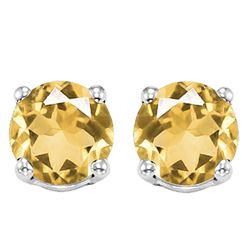 6MM Citrine Stud Earrings in Sterling Silver