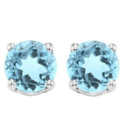 6MM Sky Blue Topaz Stud Earrings in Sterling Silver