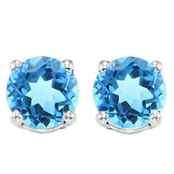 6MM Swiss Blue Topaz Stud Earrings in Sterling Silver