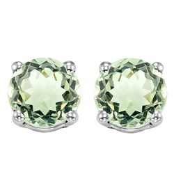 6MM Green Amethyst Stud Earrings in Sterling Silver