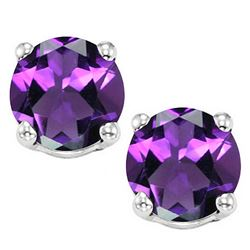8MM Large Amethyst Stud Earrings in Sterling Silver