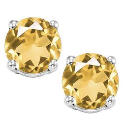 8MM Large Citrine Stud Earrings in Sterling Silver