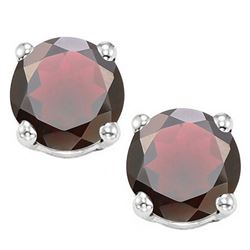 8MM Large Natural Garnet Stud Earrings in Sterling Silver