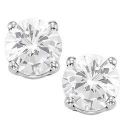 8MM Large White Topaz Stud Earrings in Sterling Silver