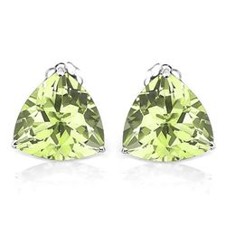 6MM Trillion Cut Peridot Stud Earrings in Sterling Silver