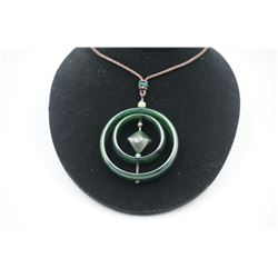 """A Canada Jade Double Circle """"Rhombus"""" Shape Pendant with String Necklace."""